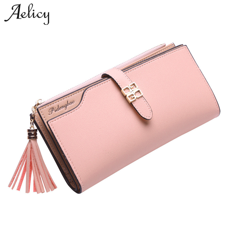 все цены на Aelicy Vintage Matte Women Wallets Long Wallet Female PU Leather Lady Clutch Purse Carteira Feminina Wallet for Credit Cards