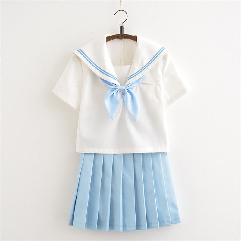 New Arrive Japanese Harajuku School Uniforms Fashion Navy Style White Short Sleeve Tops+sky Blue Skirt For Women Girls
