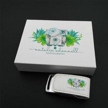 Exuanck unidad flash usb 2,0 con logo personalizado, 16GB, 8GB, 4GB, caja de impresión fotográfica de cuero, regalo de boda, 32GB