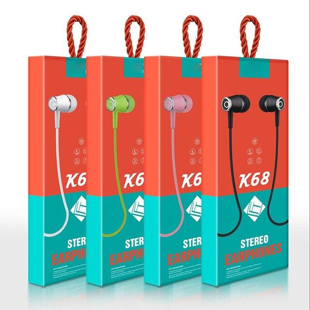 10 Stuks Veel K68 In Ear Oortelefoon Headset Wired Controle Met 3.5 Mm Interfac Mic Oortelefoon Voor Android voor Apple