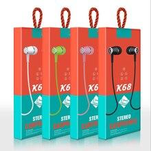 Auriculares internos K68 con Control por cable y micrófono, 3,5mm, para Android y Apple, 10 Uds. Por lote