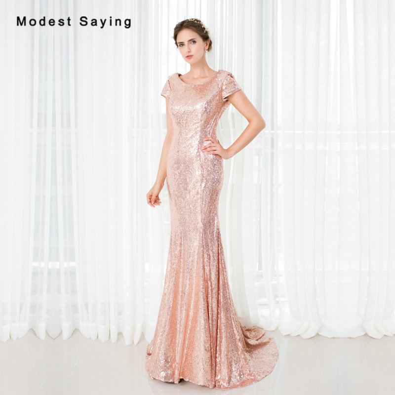 Sexy Nude Pink Mermaid Cowl Back Sequined Short Sleeve Evening Dresses 2017 Summer Girls Long Party Prom Gowns vestido de festa