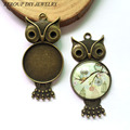 5pcs/lot antique bronze tray pendant setting cameo tray inner 25mm cabochon supplies for jewelry MC-285