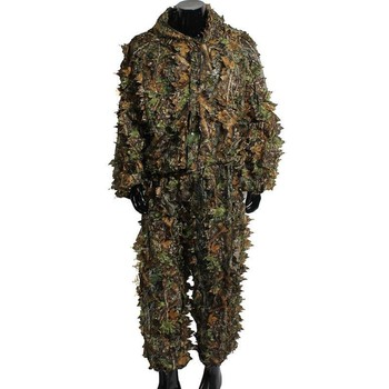 Hunting Clothes Suit 3D Leaves Lightweight Breathable Long Sleeve Hooded Tops Pants Outdoor Shooting Birding Apparel Photography 1