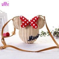 New Style Minnie Mouse Handmade Rattan Bag Cartoon Women S Purse Lovely Girls Straw Beach Shoulder