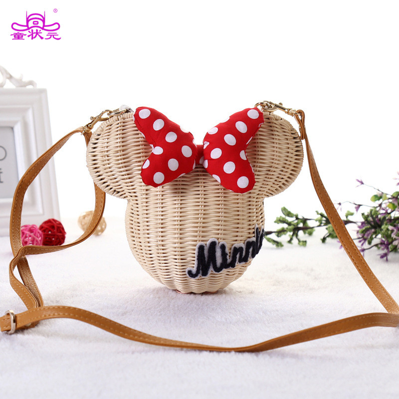 New Style Minnie Mouse Handmade Rattan Bag Cartoon Women's Purse Lovely Girls Straw Beach Shoulder Bag Vintage Casual Bucket