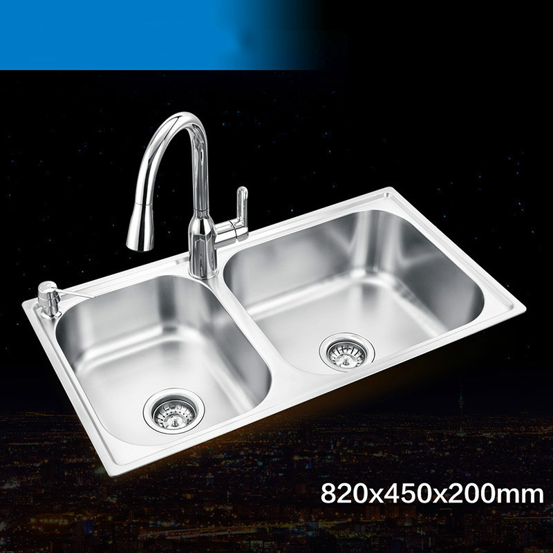 Free shipping Standard luxurious big kitchen double groove sink food grade 304 stainless steel hot sell whole drawing 82×45 CM