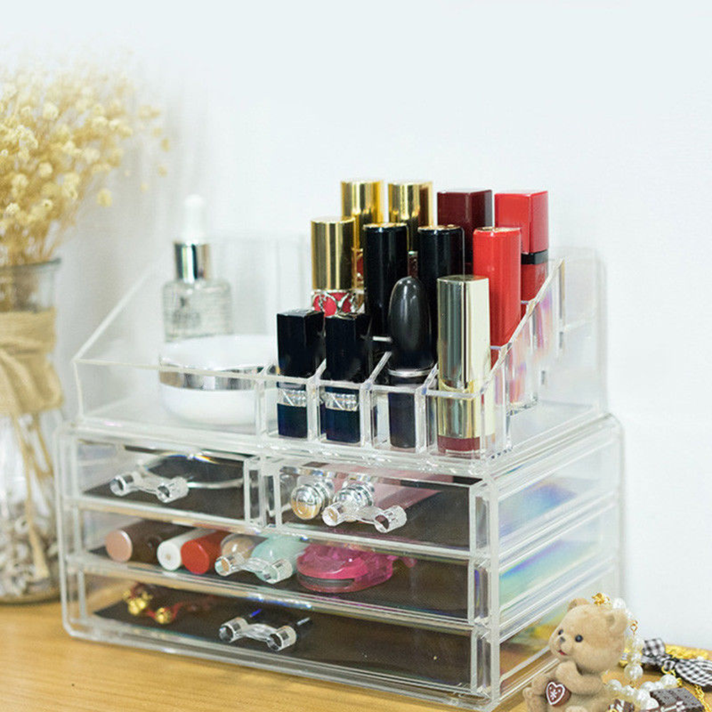 <font><b>Acrylic</b></font> Makeup Box Cosmetic <font><b>Organizer</b></font> <font><b>Drawer</b></font> Holder Clear Storage Case Jewelry image