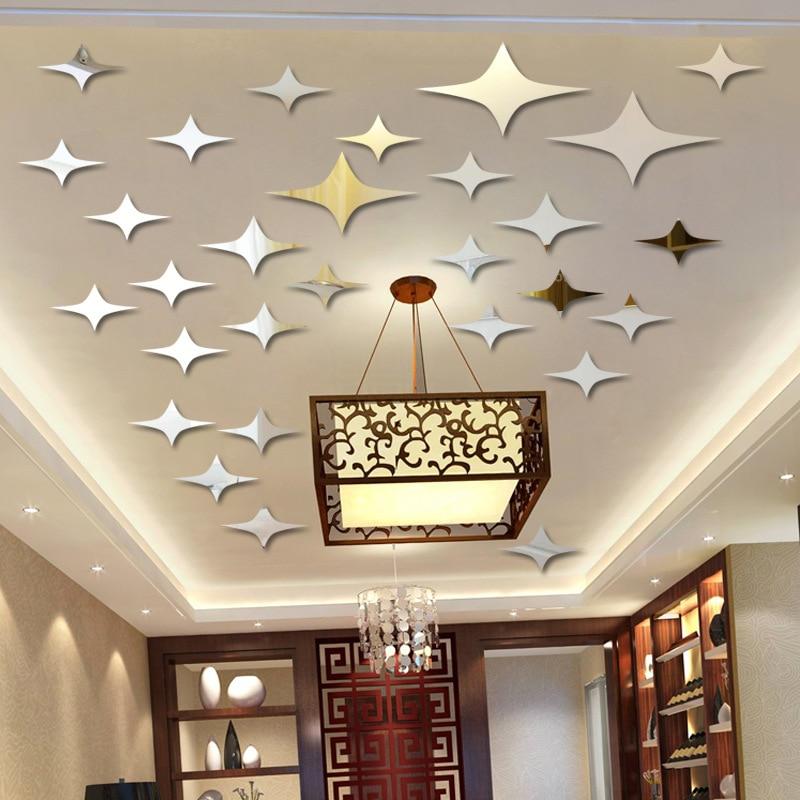 Stars In The Sky Mirror Wall Sticker Ceiling 3D Home Decor Acrylic Mirror Pegatinas Paredes Decoracion living room Bedroom Deco
