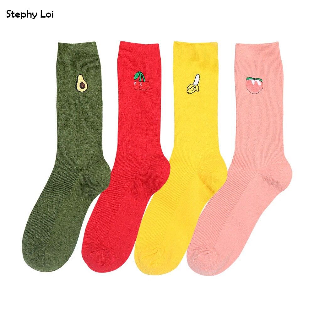 Divertido, lindo, plátano, cereza, aguacate, patrón, mujer, niña, algodón, flojo, calcetines, verano, japón, harajuku, amarillo, diseñador, retro