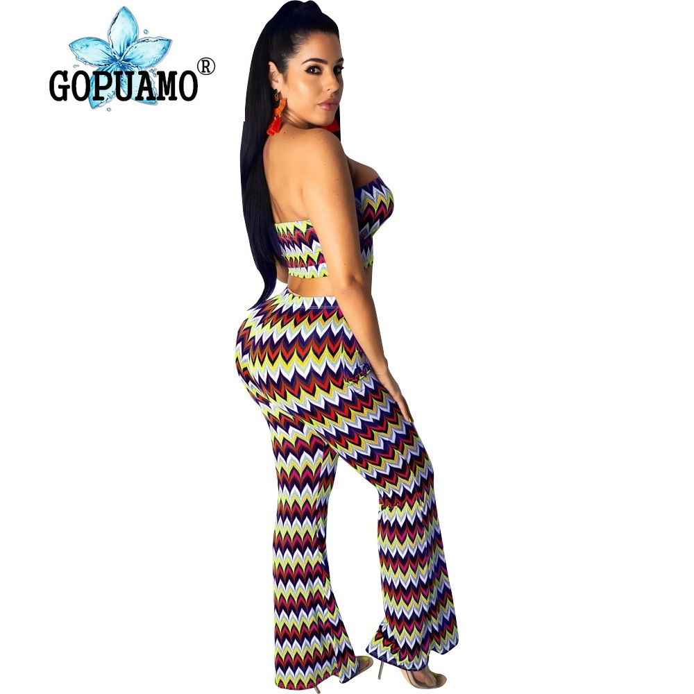 Wave Striped Sexy 2 Piece Matching Sets Women Off Shoulder Backless Crop Top And Bodycon Pants Summer Plus Size Outfit Sweatsuit