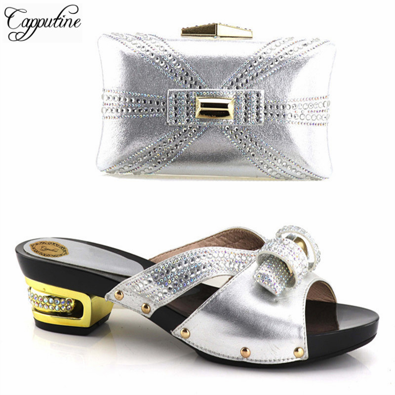 Capputine Nigerian Party Shoe And Bag Sets Sales In Women Matching Shoes And Bag Set Decorated With Rhinestone Italian Shoe Bag new fashion green color decorated with diamonds african shoes and bag set for party in women italian matching shoe and bag sets