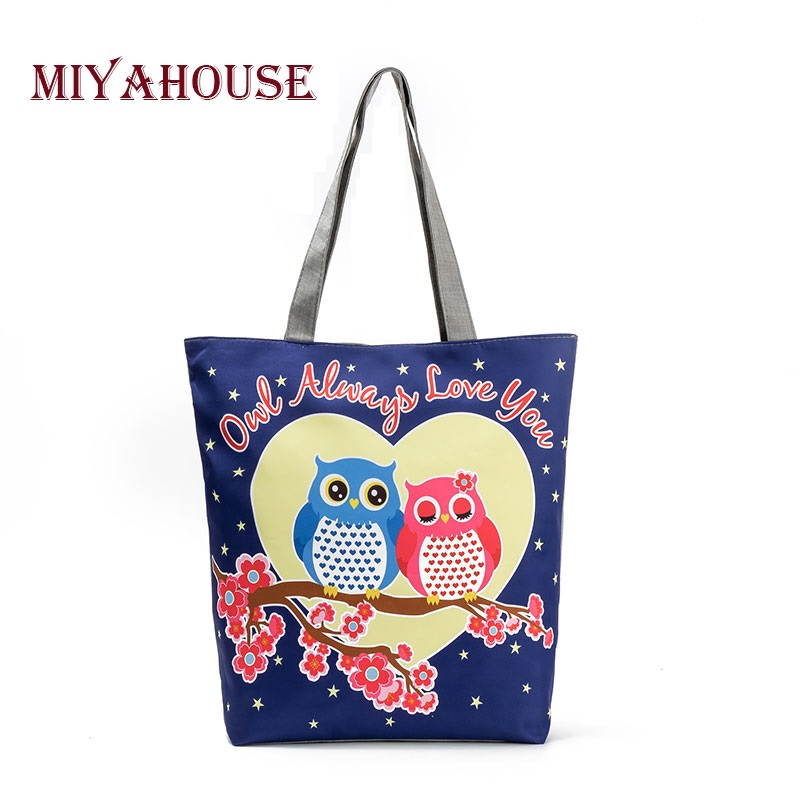 Miyahouse Cartoon Owl Printed Shoulder bag Women Large Capacity Canvas Casual Totes Handbag Female Shopping Bag Ladies Beach Bag forudesigns floral printed shoulder bags women large capacity female shopping bag summer ladies beach handbag blosas feminina