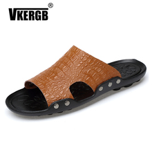 VKERGB Summer Shoes Men's Slippers Beach Sandal Fashion Men Men Slippers Summer Shoes for Man Beach Slippers Genuine Leather padegao men s shoes slippers dc