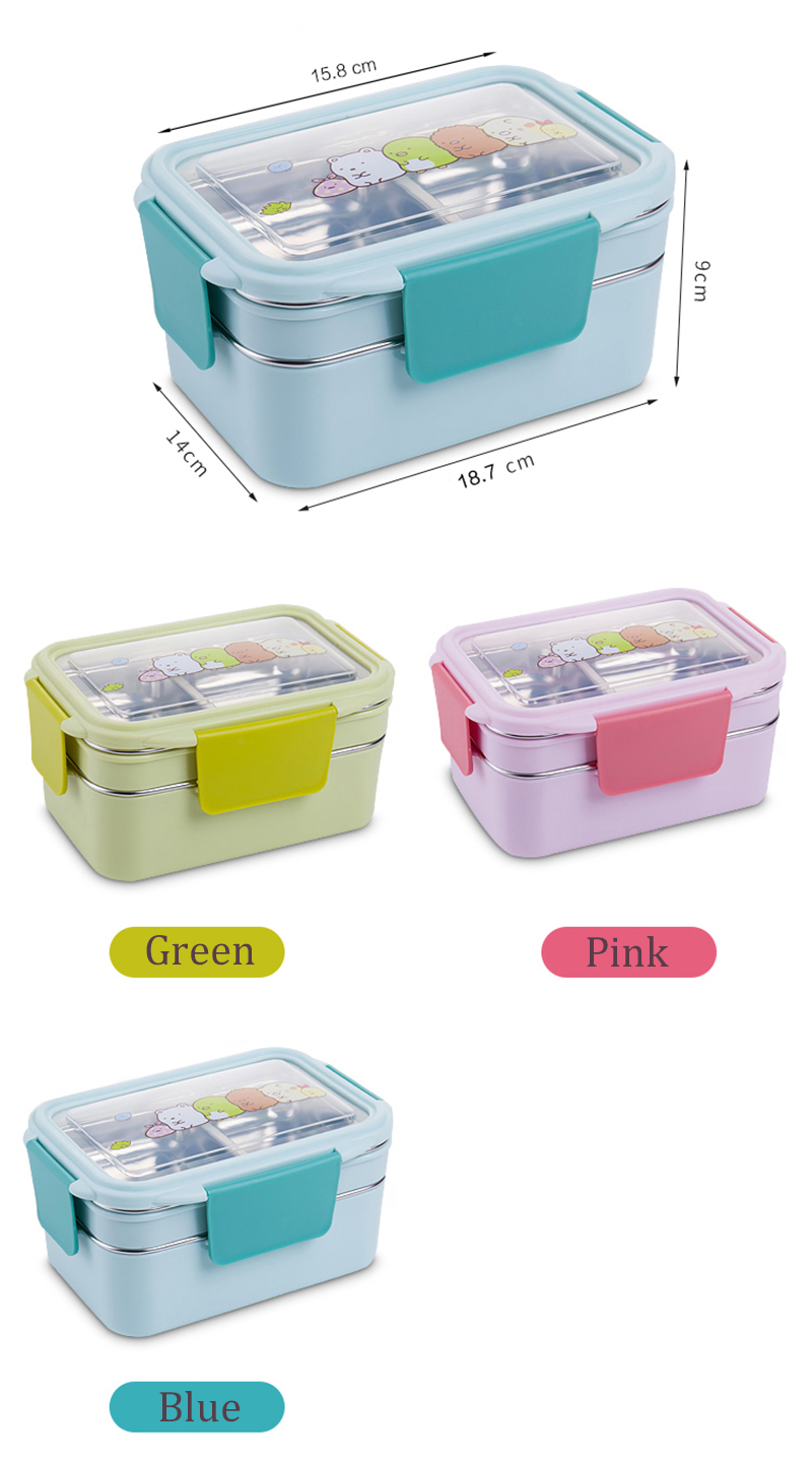 TUUTH Cartoon Lunch Box  Stainless Steel Double Layer Food Container Portable for Kids Kids Picnic School Bento Box B1