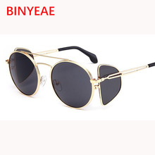 b0030ce8d1 cool round Steampunk Sunglasses women vintage black mirror circle glasses  female shades metal frame Shields oculos yellow lens