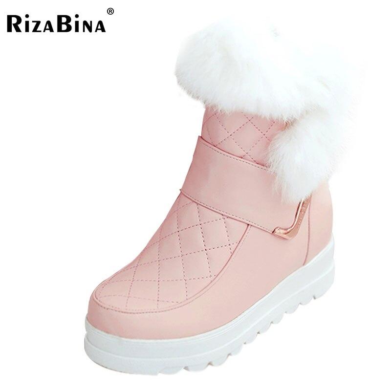 RizaBina Size 34-43 Women Platform Snow Boots Metal Wedges Boots Thick Fur Shoes In Cold Winter Mid Calf Botas Women Footwears size 35 41 women high heel boots thick fur genuine leather mid calf boots women winter shoes warm botas women footwears