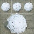 Elegante Multi-cor Nobre Palácio Estilo Braço Longo Nupcial Do Casamento Do Guarda-chuva/Bordado Gingham Lace Parasol Sun Umbrella