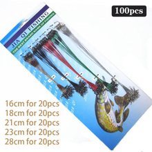 100Pcs Fishing Line 16/18/21/23/28cm Steel Lure Leader Wire Trace Tool Set Leash