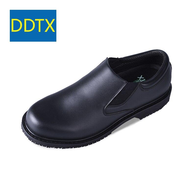 DDTX Anti-Slip Chaussures de Travail EH Protection Isolé Foowear pour Chef Slip-on Chaussures Habillées En Cuir Hommes SRC noir