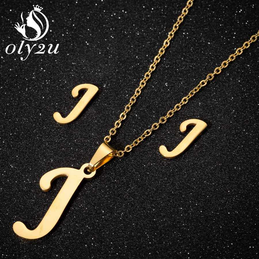 Oly2u Stainless Steel Jewelry Sets For Women Latter Pendant Necklaces Stud Earrings Jewellery Sets Fashion Necklace Set femme