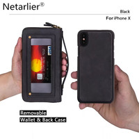 Netarlier Wallet Case For iPhone X 5.8 inch New Removable Vintage Leather Ultimate Wallet Phone Case Cover In Pink Black Red Tan