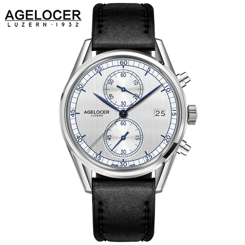 Switzerland Men luxury chronograph watch roles reloj AGELOCER Timepiece sapphire Quartz Wrist Watches for Mens relogio masculino seiko watch premier series sapphire chronograph quartz men s watch snde23p1