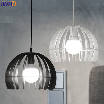 IWHD Iron LED Hanging lights Fashion Restaurant Pendant Light Fixtures Home Lighting Dining Room Hanglamp White Black Luminaire iwhd iron led pendant lights modern fashion bedroom hanging lamp dining room suspension luminair home lighting fixtures lampara