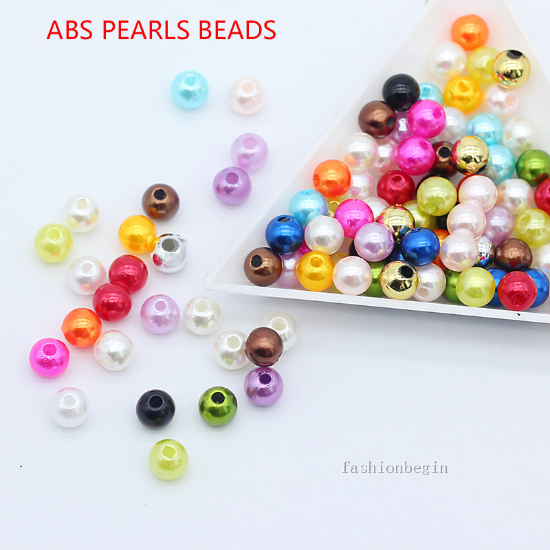 NEW 50Pcs 8mm Golden Acrylic Round Pearl Spacer Loose Beads Jewelry Making