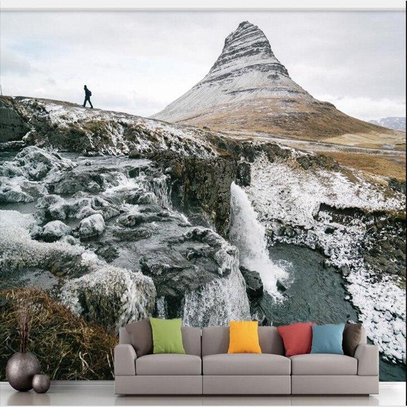 beibehang Custom large - scale - definition 3D landscape scenery of snow -  capped mountains plateau wallpaper papel de parede ebc52c42a9d
