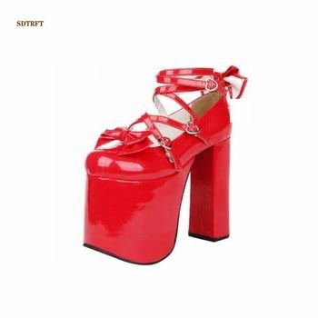 df0d548e394d Размеры: 34 35-46 47 Весна 15 см квадратный каблук Женская обувь туфли-лодочки  с круглым носком на шнуровке с бантом zapatos mujer на платформе платье пр.