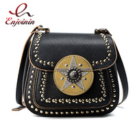Diamonds star rivet pu leather women's saddle bag handbag ladies shoulder bag crossbody mini messenger bag purse flap 3 colors