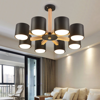 Nordic Chandelier E27 With Iron Lampshade For Living Room Suspendsion Lighting Fixtures Lamparas Colgantes Wooden Lustre