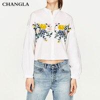 CHANGLA Embroidery Flower Blouse Shirt Women Tops 2017 Summer Ruffle White Blouse Female Blusas Long Sleeve