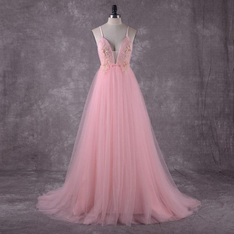 Pink Beach Wedding Dress Spaghetti Straps 2018 Sequin Lace Top Sexy Boho Bridal Dresses Open Back Robe de mariee Wedding Dresses