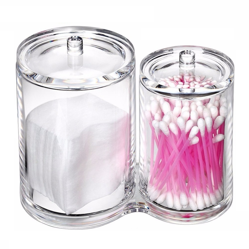 Clear Acrylic Makeup Organizer Cotton Swabs For Lipstick Brush Storage Shelf Cosmetic Holder Jewelry Makeup Storage Box(China)