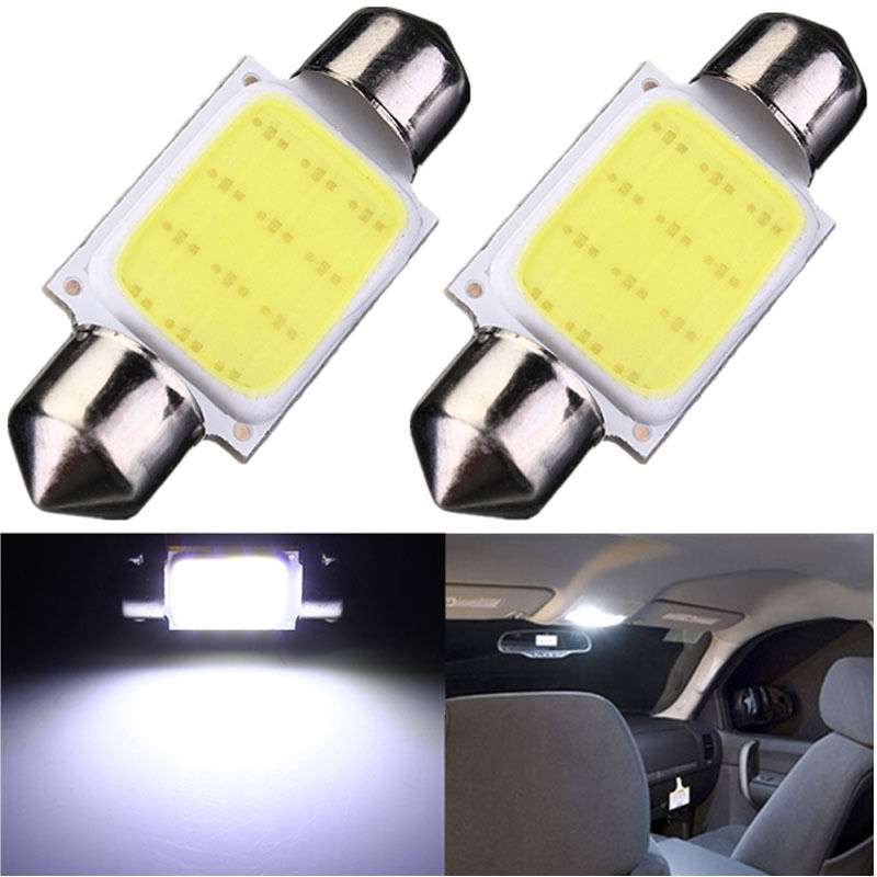2pcs 36mm C5W WHITE Festoon CANBUS COB LED SMD PLASMA interior bulb 12v DC