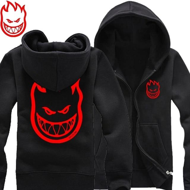 new 2017 free shipping SPITFIRE WHEELS Skateboard Zombie Flaming Head Logo man men male thickening sweatshirt Hoodies cardigan