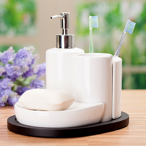 4pcs Bathroom Set Ceramic Bathroom Supplies Kit Soap Dish Toothbrush Holder  Lotion Bottle Bathroom Accessories