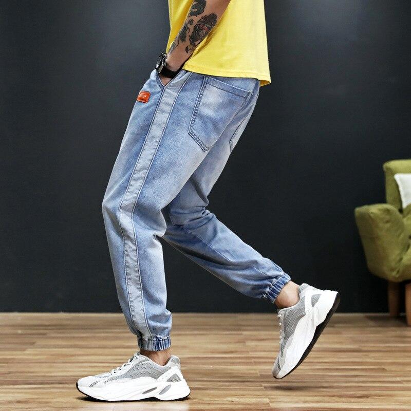 Japanese Style Fashion Men Jeans Blue Color Stripe Spliced Loose Fit Harem Pants Hombre Streetwear Hip Hop Joggers Jeans Men