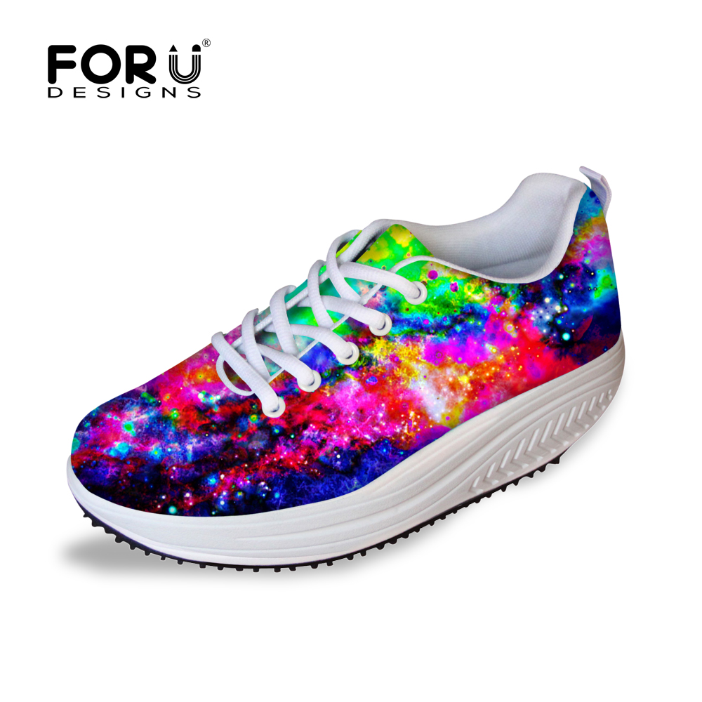 Height increasing Spring Shoes Womens Causal Shoes Leisure Galaxy Star Walking Shoes for Women Swing Wedges Shoes Breathable