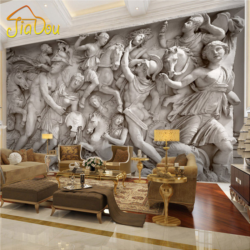 Custom 3d Photo Wallpaper European Retro Roman Statues Art