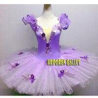 Personalizar Vestidos de Ballet Tutús de Ballet Morado Lila Con Alas En La Parte Trasera, Violeta Flor Ala Trajes de Ballet De Lilas Balet