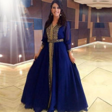 Custom Made 2016 Muslim Prom Dresses Abaya in Dubai Beaded Kaftan Long Sleeve Blue Arabic Evening Gowns Islamic Moroccan Kaftan