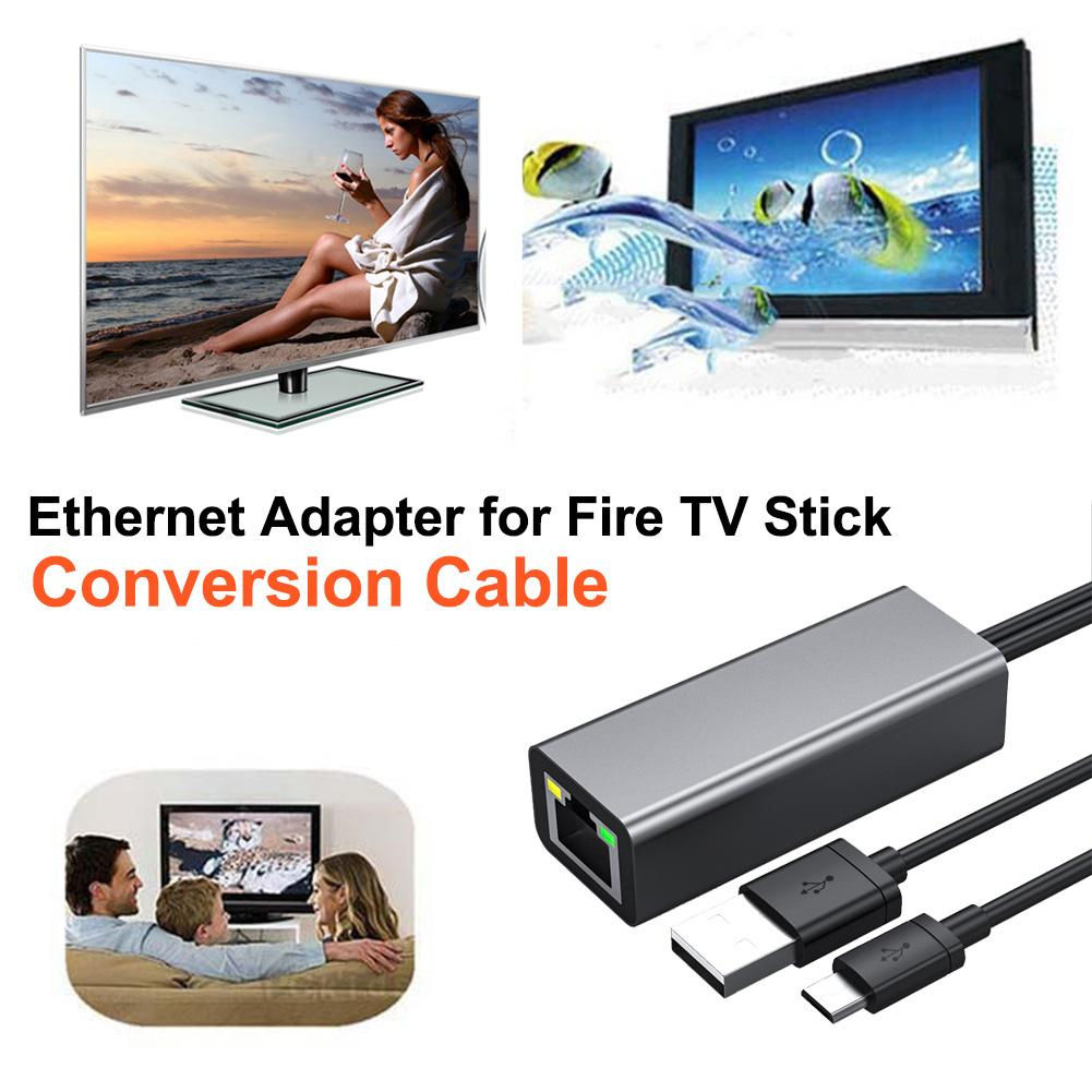 Ethernet Adapter For Fire TV Stick RJ45 100Mbps Micro USB 2.0 480 Mbps Free Drive Conversion Cable 1M For Amazon Fire TV Stick image