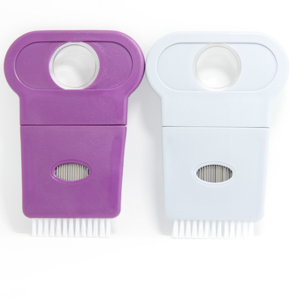 Купить с кэшбэком 3 in 1 function with magnifier Needle pet flea Lice Comb Nit Free Kids Hair Rid Headlice stainless steel Metal Teeth  purple