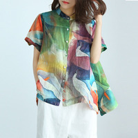 Top Streetwear Femme Shirt Loose Multicolor Printed Summer Style Retro Casual Blouse Linen Breathable Button Women Tops Blusas