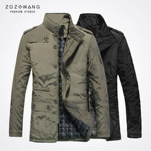 zozowang highquality new winter xl leisuretime medium length cotton padded clothes men stand collar business affairs coat