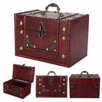 Vintage Large Wooden Jewellery Treasure Box Keepsake Chest Case Lock Handle New