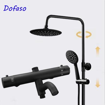 Dofaso античный Термостатический смеситель для душа черный набор для душа 8 дюймов ванная комната осадков смеситель для душа набор с ручной на...